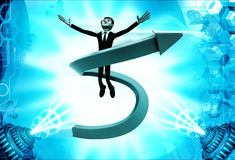 3d man flying in swirling arrow illustration Stock Photography
