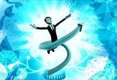 3d man flying in swirling arrow illustration Stock Image