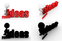 3d man focus ides concept collections with alpha and shadow channel Stock Images
