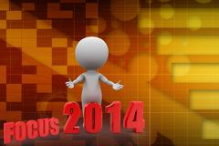 3d man with focus 2014 Royalty Free Stock Image
