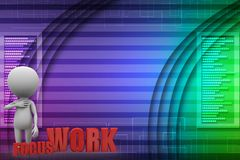 3d man with Focus Work illustration Stock Images