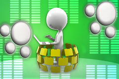 3d man  folder laptop illustration Royalty Free Stock Photos