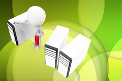 3d man folder locked illustration Stock Photography