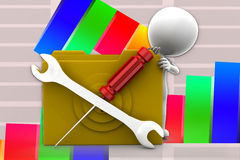 3d Man Folder Screw Driver Tools illustration Royalty Free Stock Photo