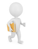 3d man with folder. On white background Royalty Free Stock Photo
