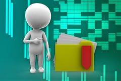 3d man folder -zip illustration Stock Photos