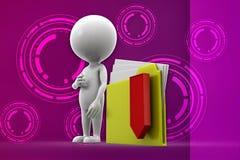 3d man folder -zip illustration Stock Image