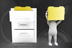 3d man with folders inside locker illustration Royalty Free Stock Photography