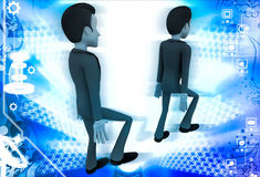 3d man following action of another man illustration Royalty Free Stock Photography