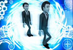 3d man following action of another man illustration Stock Photo