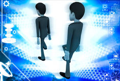 3d man following action of another man illustration Royalty Free Stock Photo