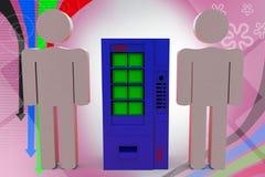 3d man food machine  illustration Stock Photography