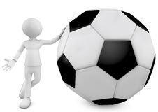 3d man and football ball. 3D football player holding the ball  over a white background Royalty Free Stock Photos