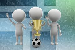 3d man football golden cup illustration Stock Photography