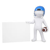 3d man in a football helmet holds blank card. 3d man in a football helmet holds a blank card. Isolated render on a white background Stock Photo