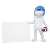 3d man in a football helmet holds blank card Stock Photo