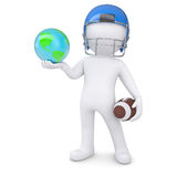 3d man in a football helmet holds the earth. Isolated render on a white background Stock Photo