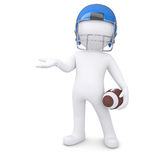 3d man in a football helmet holds an empty hand. Isolated render on a white background Stock Photo