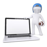 3d man in a football helmet holds laptop. Isolated render on a white background Royalty Free Stock Photos
