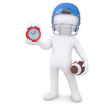 3d man in football helmet holds red alarm clock. 3d man in a football helmet holds red alarm clock. Isolated render on a white background Stock Images