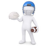 3d man in a football helmet keeps the brain. Render on a white background Royalty Free Stock Image
