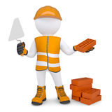 3d man in the form of building with bricks. Isolated render on a white background Royalty Free Stock Image