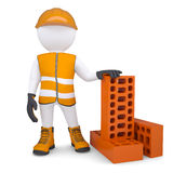 3d man in the form of building with bricks Royalty Free Stock Photos