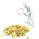 3d man found gold Stock Photo