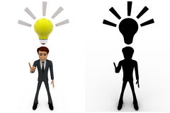 3d man found idea and with yellow bulb concept collections with alpha and shadow channel Royalty Free Stock Photo
