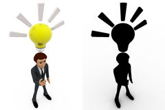 3d man found idea and with yellow bulb concept collections with alpha and shadow channel Stock Photo