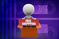 3d man free shipping illustration Stock Photos