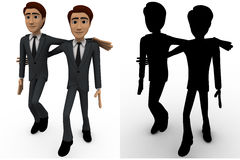 3d man friend walking and in good mood concept collections with alpha and shadow channel Stock Photo