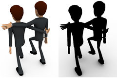 3d man friend walking and in good mood concept collections with alpha and shadow channel Stock Image