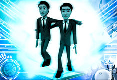 3d man friend walking and in good mood illustration Stock Image