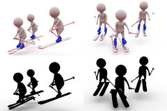 3d man friends ski concept collections with alpha and shadow channel Royalty Free Stock Image