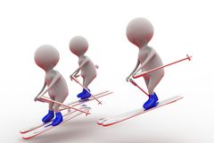 3d man friends ski concept Royalty Free Stock Photography