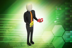 3d man with 4G and 3G. In color background Stock Image