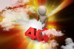 3d man with 4G and laptop Royalty Free Stock Photo