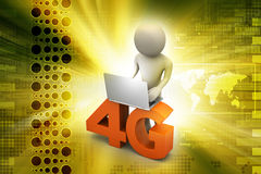3d man with 4G and laptop Royalty Free Stock Image