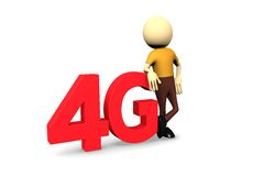 3d man with 4G. In white background Stock Photo