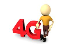 3d man with 4G. In white background Royalty Free Stock Images
