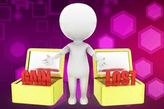 3d man gain and lost illustration Royalty Free Stock Images