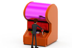 3d man gamble machine concept Stock Images