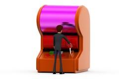 3d man gamble machine concept Royalty Free Stock Photos