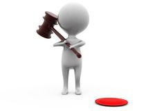 3d man with gavel concept Royalty Free Stock Photography