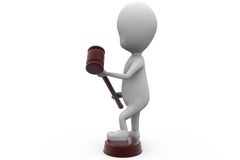 3d man gavel concept Royalty Free Stock Images