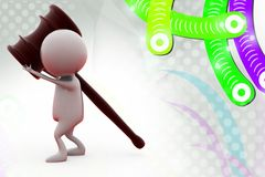 3d man with gavel  illustration Stock Images