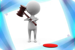 3d man with gavel  illustration Royalty Free Stock Photo