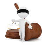 3d man with gavel and scales. On white background Stock Photos