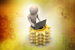 3d man with gear and chat with laptop Royalty Free Stock Photography